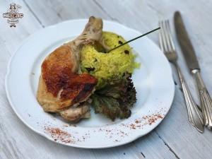Pollo asado con arroz árabe